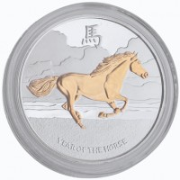 "Gilded 1 oz Fine Silver ""Chasing The Storm"" Round"
